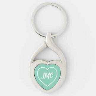 Porte-clés Monogramme de coeur de bleu et de blanc de ciel