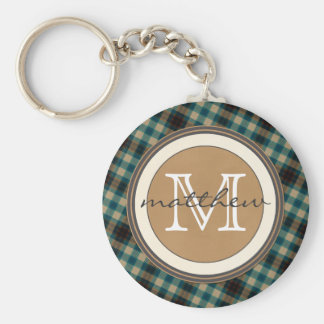 Porte-clés Monogramme de plaid de Brown bleu