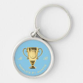 Porte-clés Monogramme de tante du numéro un du monde