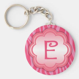 Porte-clés Monogramme E d'impression de zèbre de roses indien