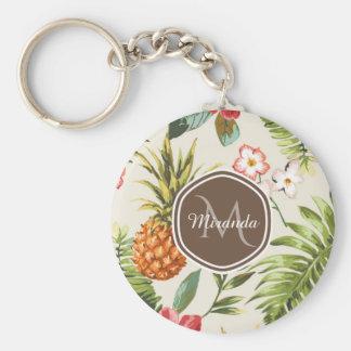Porte-clés Monogramme floral de Brown d'ananas tropical