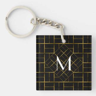 Porte-clés Monogramme géométrique élégant de motif d'art déco