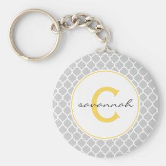 Porte-clés Monogramme gris et jaune de Quatrefoil