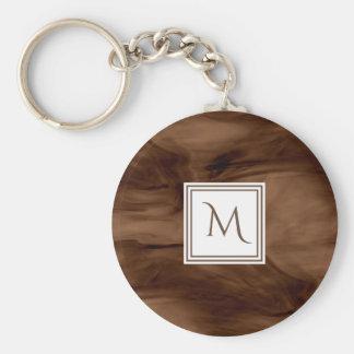 Porte-clés Monogramme moderne de marbre subtil foncé simple