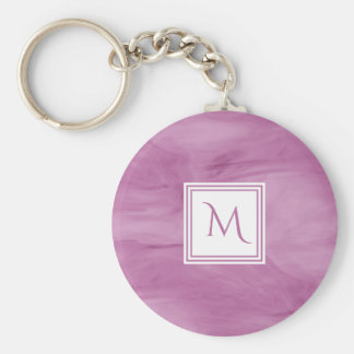 Porte-clés Monogramme moderne de marbre subtil mauve-clair