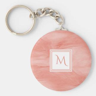 Porte-clés Monogramme moderne de marbre subtil rose de corail