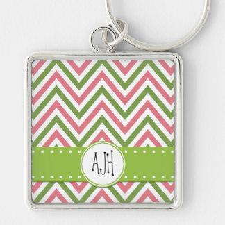 Porte-clés Monogramme - motif de zigzag, Chevron - rose vert