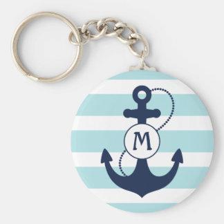 Porte-clés Monogramme nautique bleu-clair d'ancre