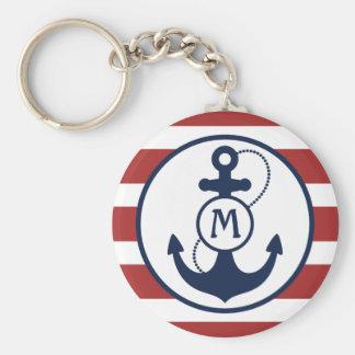 Porte-clés Monogramme nautique rouge d'ancre