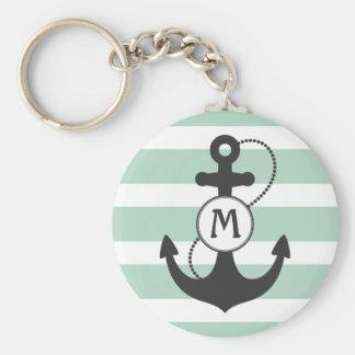 Porte-clés Monogramme nautique vert clair d'ancre