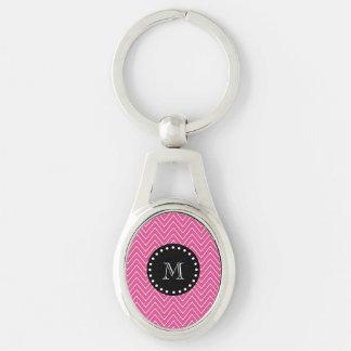 Porte-clés Monogramme noir du motif | de Chevron de roses