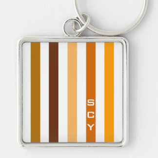 Porte-clés Monogramme orange bronzage de rayures verticales