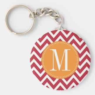 Porte-clés Monogramme orange et rouge foncé de coutume de