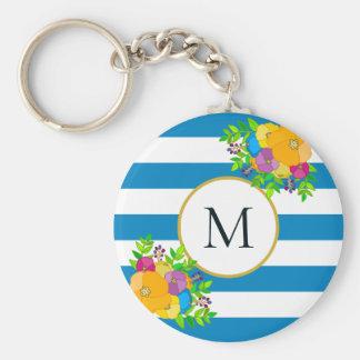 Porte-clés Monogramme rayé blanc bleu tropical floral