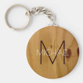 Porte-clés monogramme rustique de texture en bois, élégant