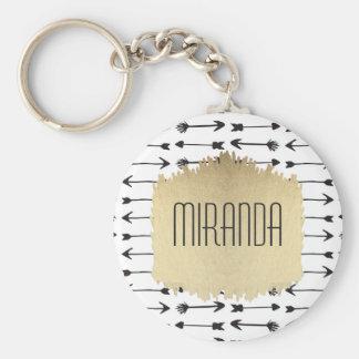 Porte-clés Monogramme tiré par la main noir et blanc moderne