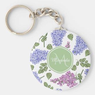 Porte-clés Monogramme vert en pastel floral lilas de lavande