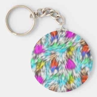 Porte-clés Motif blanc coloré de fourrure de léopard