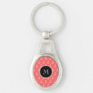 Porte-clés Motif blanc de corail d'ancres, monogramme noir