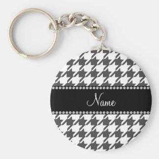 Porte-clés Motif blanc nommé personnalisé de pied-de-poule