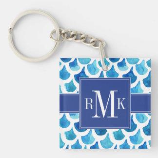 Porte-clés Motif bleu d'échelle d'aquarelle
