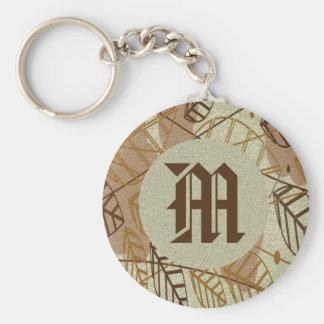 Porte-clés Motif bronzage floral de Brown de fleur de feuille