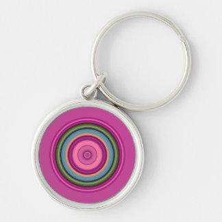 Porte-clés Motif circulaire multicolore rose