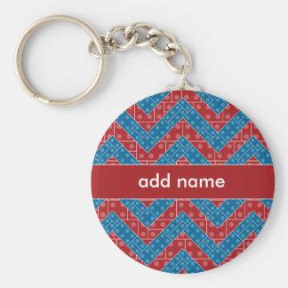Porte-clés Motif coloré de Chevron avec le bleu de rouge de
