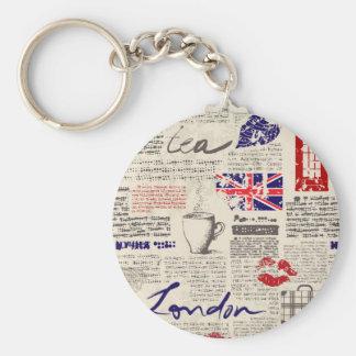 Porte-clés Motif de journal de Londres