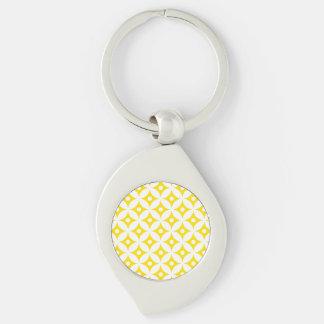 Porte-clés Motif de pois jaune et blanc moderne de cercle