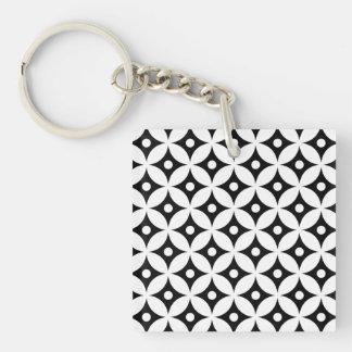 Porte-clés Motif de pois noir et blanc moderne de cercle