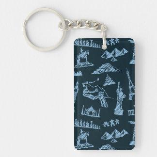 Porte-clés Motif de voyage dans le motif de bleus