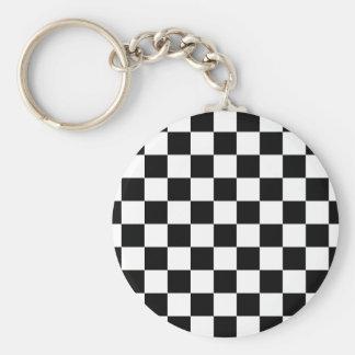 Porte-clés motif d'échiquier noir et blanc