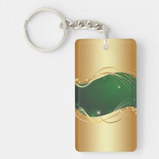 Porte-clés Motif d'or de Noël avec l'arrière - plan vert…