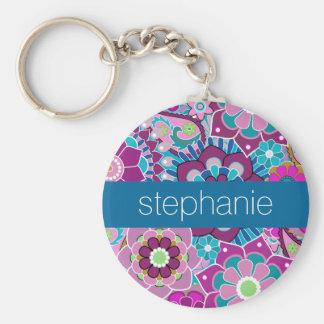 Porte-clés Motif floral turquoise et rose avec le nom fait