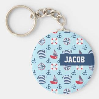 Porte-clés Motif nautique de thème d'ancre bleue de voilier