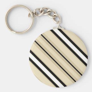 Porte-clés Motif noir beige de rayure de Taupe bronzage crème