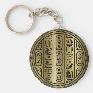 Porte-clés Motif noir d'hiéroglyphes sur l'or antique