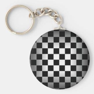 Porte-clés Motif noir et gris de damier