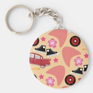 Porte-clés Motif rose d'années '50 de Rockin