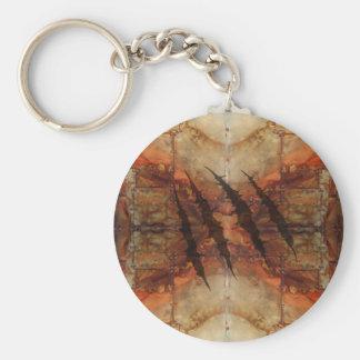Porte-clés Motif rouillé de déchirure de griffe en métal