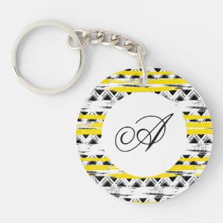 Porte-clés Motif tribal de rayures jaunes blanches noires