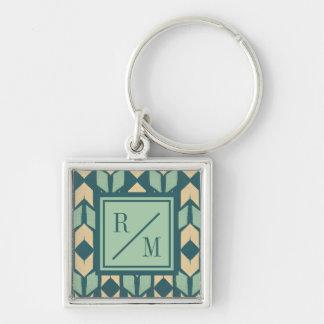 Porte-clés Motif turquoise géométrique extérieur de flèche