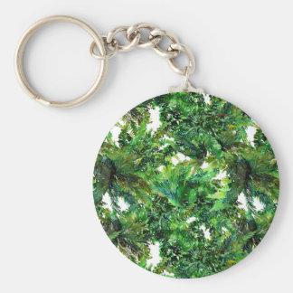 Porte-clés Motif vert de chute de forêt de fougère