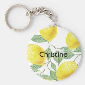 Porte-clés Motif watercolored élégant de citron sur le nom