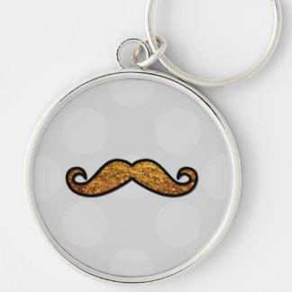Porte-clés Moustache, pois, scintillement - or gris noir