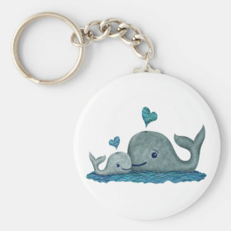 Porte-clés Natation de maman et de bébé de baleine en mer