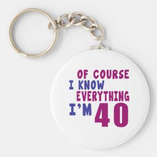 Porte-clés Naturellement je sais que tout j'ai 40 ans