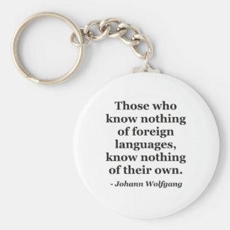 Porte-clés Ne savez rien de la citation de langues étrangères