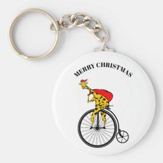 Porte-clés Noël du père noël de girafe